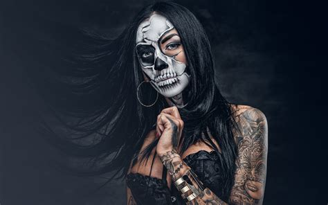 Wallpapers Tattoos Brunette girl Makeup day of the dead