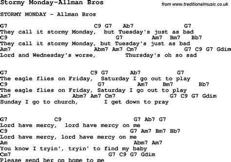 Blues Guitar Lesson For Stormy Monday-allman Bros, With Chords, Tabs, And Lyrics