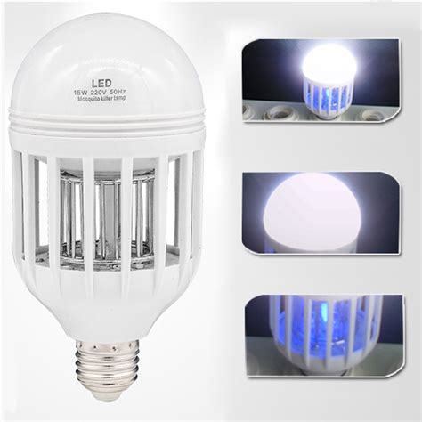 2 in 1 bug zapper led bulb 85v 265v e27 flying insects