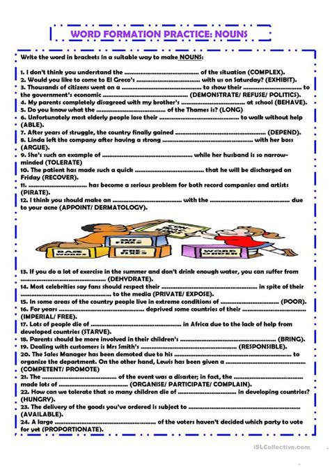 word formation nouns worksheet  esl printable