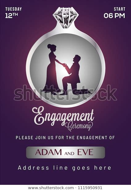 Engagement Invitation Card Design Stock Vector (Royalty
