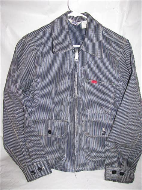 retro  vintage western wear railroad stripe zip front