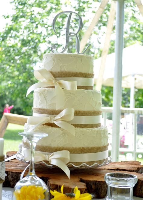 Rustic Style Wedding Cake With Burlap And Ivory Ribbon