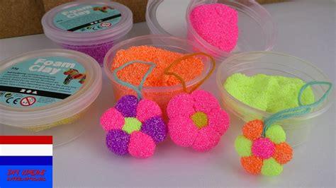 vouwballonnen bloem schuimklei foam clay zelf bloem maken diy voor kids zelf