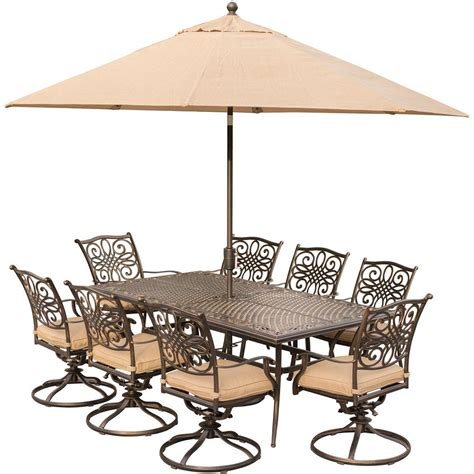 hanover 9 outdoor dining set with rectangular cast
