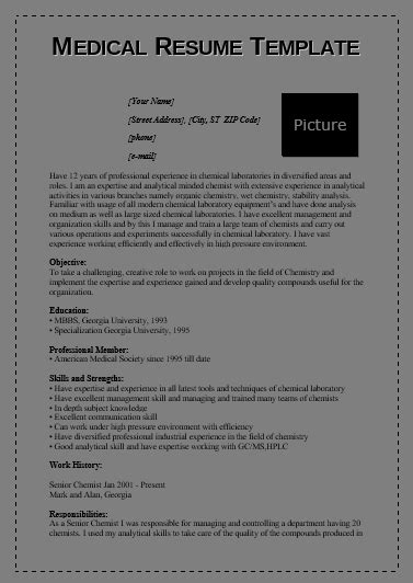 medical resume templates  word templates
