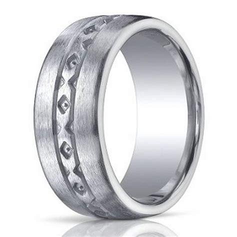 10mm designer brushed argentium silver wedding ring with pattern design justmensrings