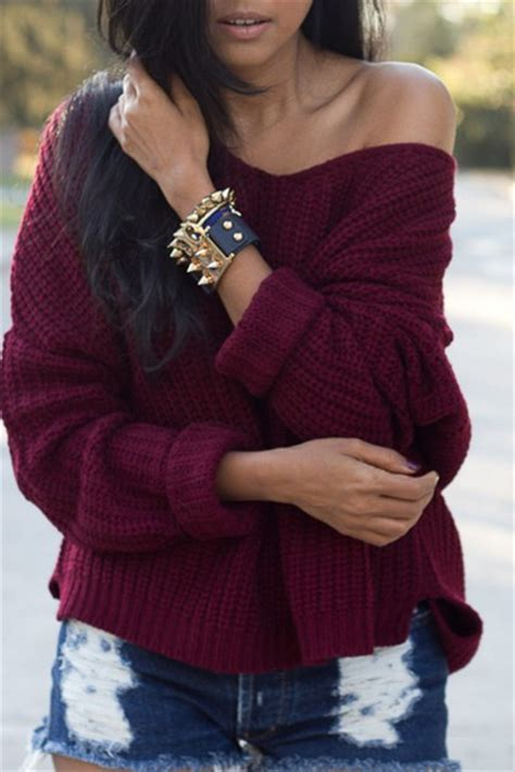 Sweater burgundy burgundy sweater off the shoulder sweater off the shoulder casual fall ...