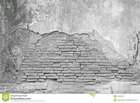 white brick wall  cracked concrete stock image