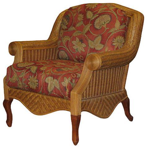 palm arm chair in cinnamon clemens sunblue fabric