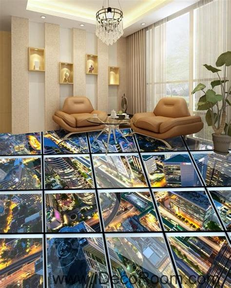 glass roof effect city night  floor decals
