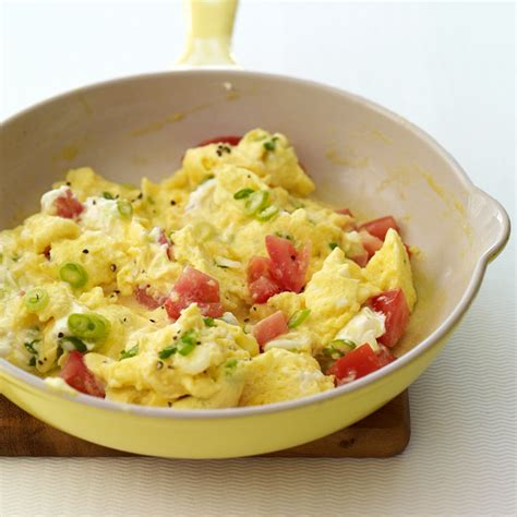 scramble cuisine scrambled eggs with scallions and tomatoes