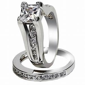 Women39s aaa cubic zirconia princess cut 316l stainless for Wedding engagement rings for women
