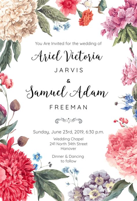 garden glory wedding invitation template