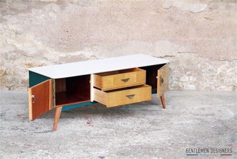 meuble tv vintage r 201 nov 201 bleu canard et blanc www gentlemendesigners fr enfilades buffets