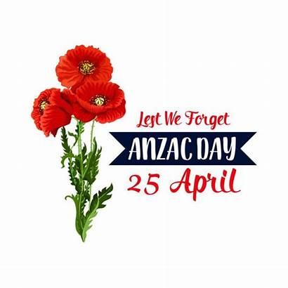 Anzac Poppy Icon Ribbon April Vector Remembrance