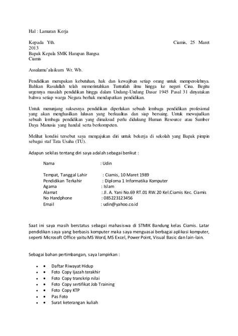 contoh surat lamaran kerja  informasi ben jobs