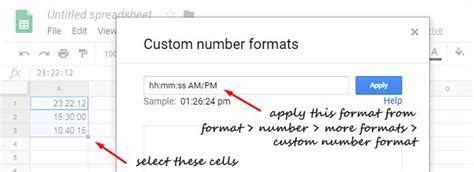 convert military time in google sheets formula and