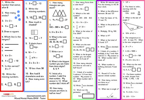 mental maths test year 4 new curriculum targeting maths