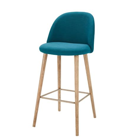 chaise haute hello petrol blue fabric vintage bar chair mauricette maisons