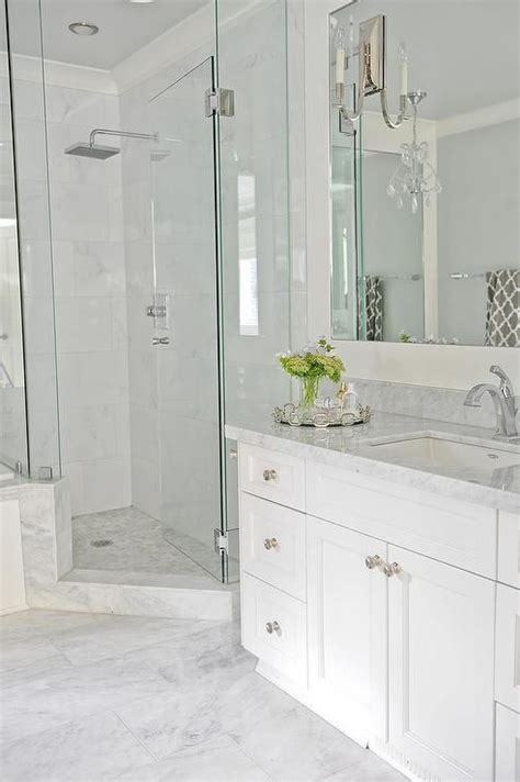 going for this look light grey floor tiles white vanity