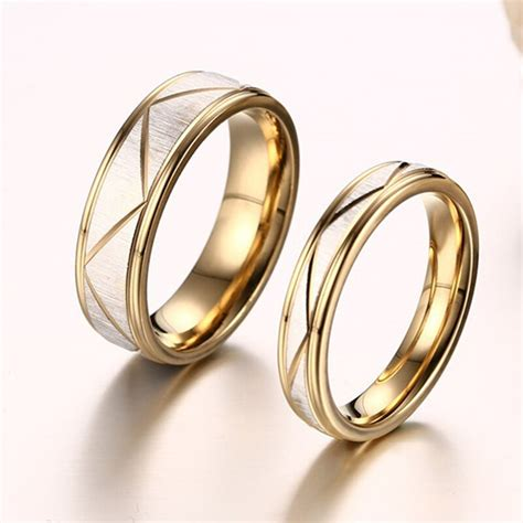 sale simple titanium steel gold color couple rings for men wedding finger ring fashion