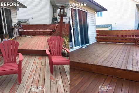 stain  deck   easy steps  bewitchin kitchen