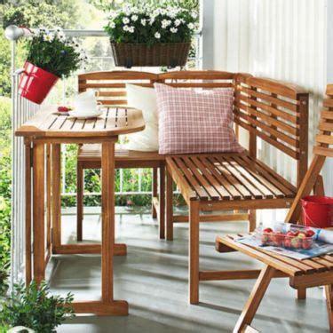balkon sitzgruppe aus akazie mit eckbank und tisch