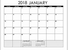 January 2018 Calendar in PDF, Excel, Word January 2019
