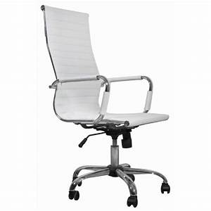 Un Dossier De Chaise : chaise de bureau simili cuir blanc dossier haut achat ~ Premium-room.com Idées de Décoration