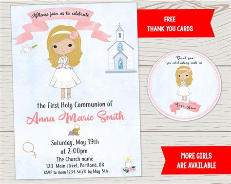 First holy communion invitation Girl baptism invite