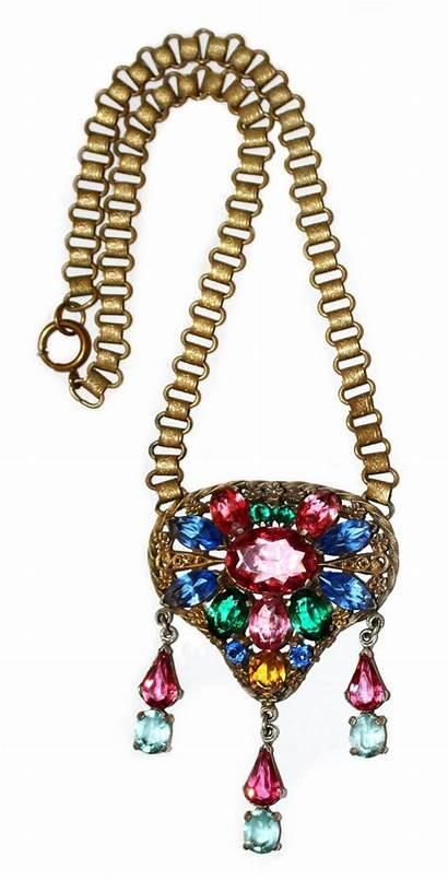 Czech Glass Pendant Want Jeweled Circa Necklace