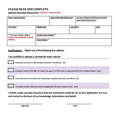 sample cdl medical form template   documents