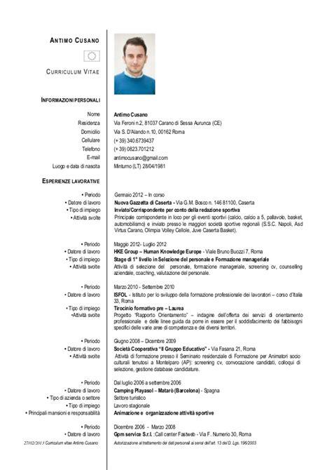 Curriculum Vitae Excel Formato Europeo by Curriculum Vitae Antimo Cusano