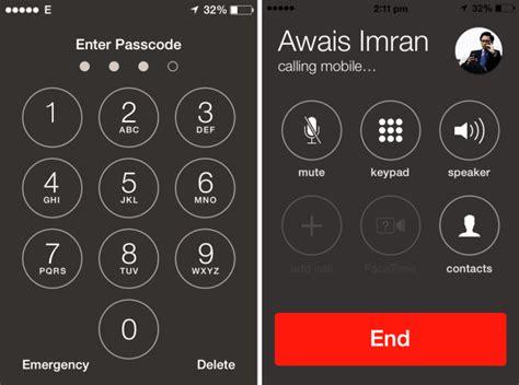 call contacts   iphones passcode screen