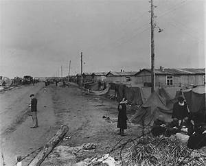 View of the main street in the Bergen-Belsen concentration ...