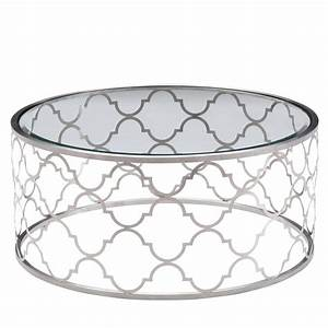 armen living florence round glass top coffee table in With brushed silver coffee table