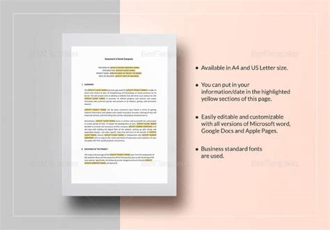 statement  work templates  google docs ms