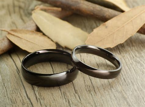 handmade black dome plain matching wedding bands couple rings ti