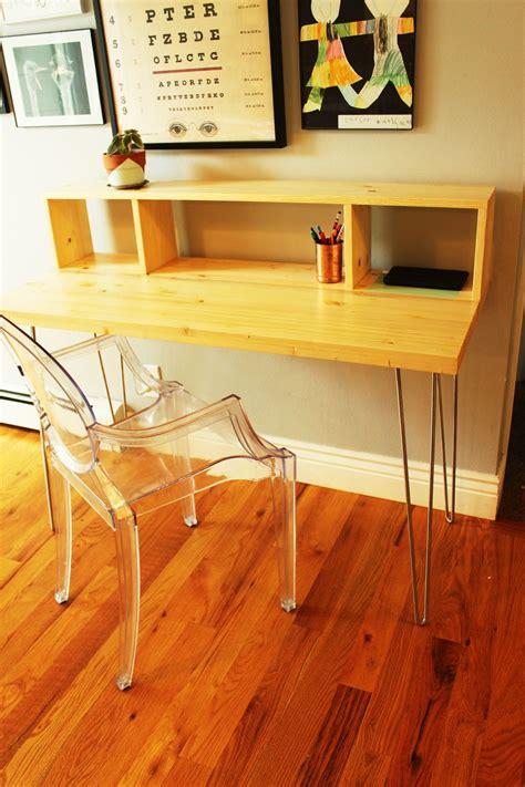build  contemporary desk  shelf  hairpin legs