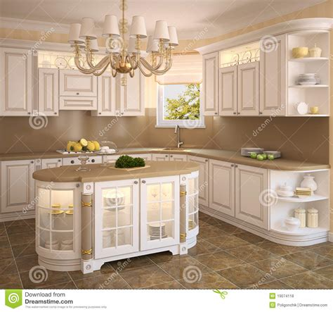 classic white kitchen stock illustration illustration