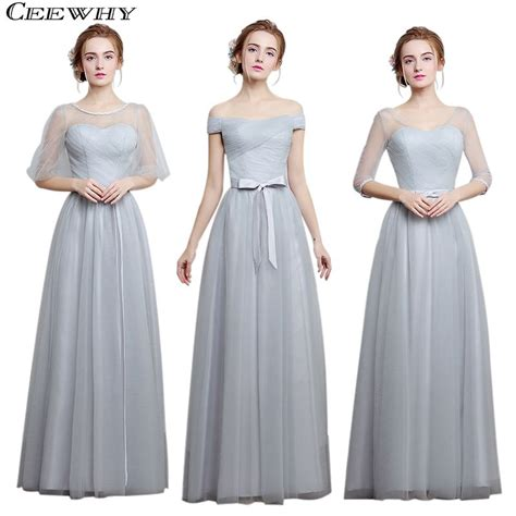 light grey bridesmaid dresses long ceewhy light gray 4 style one shoulder a line tulle 2017