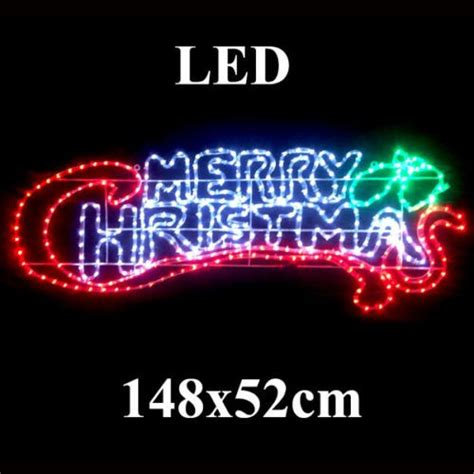 animated led 148cm wide merry christmas sign motif