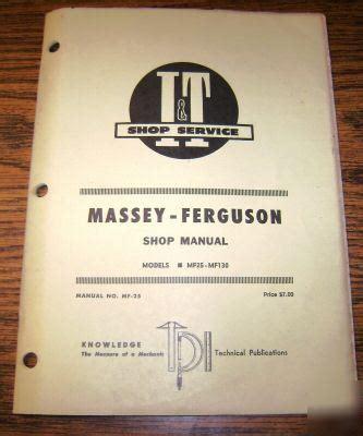 massey ferguson   tractor  shop manual mf