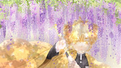 Demon Slayer Zenitsu Agatsuma Under Purple Flowers And