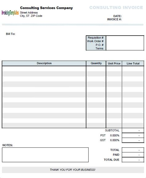 consulting invoice samples  google docs