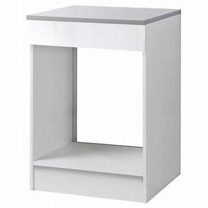 Meuble Bas Cuisine Blanc : meuble de cuisine bas four blanc brillant h86x l60x ~ Teatrodelosmanantiales.com Idées de Décoration