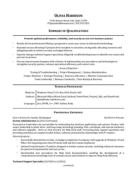 Professional Resume Summary by Resume Summary It Professional Sles Information