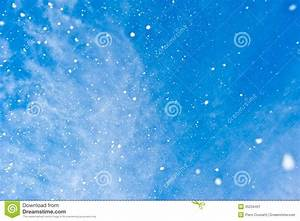 Snowflakes Falling From Blue Sky Stock Image - Image of ...
