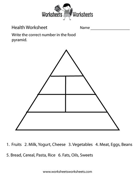 food pyramid health worksheet  printable educational